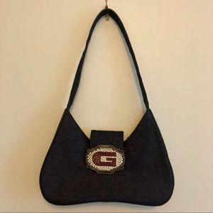 Guess Black Denim Handbag & Rhinestone Buckle